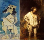Picasso La-Pisseuse Rembrandt Hendrickje-Bathing-in-a-River